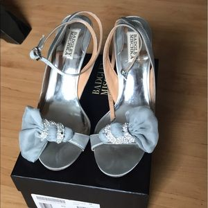 COPY - Badgley mischka silver sandals with chiffo…